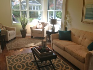 After staging - how to blend the space into one cohesive room
