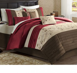 Warm colors and layered bedding create a cozier look.